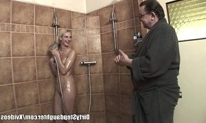 blonde mature daddy fuck lucky one shower step dad