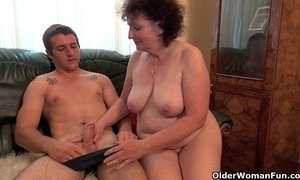 cock  couch  grandma  riding on boy